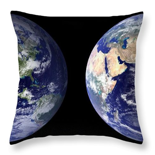 Earth Throw Pillow featuring the painting Blue Marble Composite Images Generated By Nasa by Celestial Images