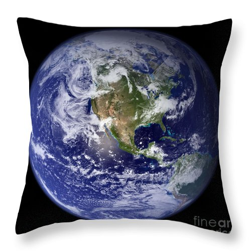 Earth Throw Pillow featuring the photograph Blue Marble Earth, North America by Science Source