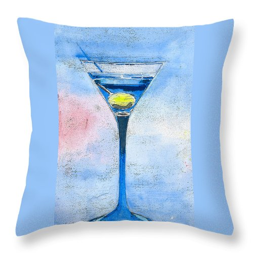Martini Throw Pillow featuring the painting Blue Martini by Arline Wagner