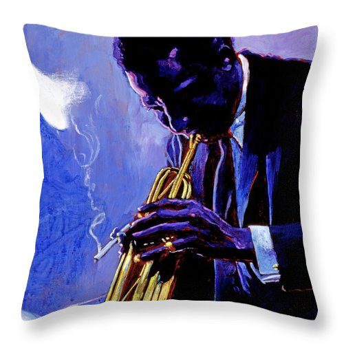 Miles Davis Throw Pillow featuring the painting Blue Miles by David Lloyd Glover
