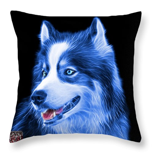 Siberian Husky Throw Pillow featuring the painting Blue Modern Siberian Husky Dog Art - 6024 - Bb by James Ahn
