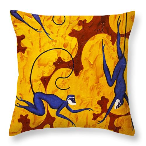 Monkeys Throw Pillow featuring the painting Blue Monkeys No. 45 by Steve Bogdanoff