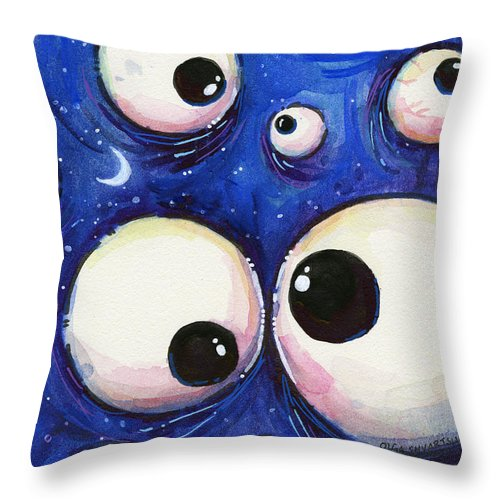 Eyes Throw Pillow featuring the painting Blue Monster Eyes by Olga Shvartsur