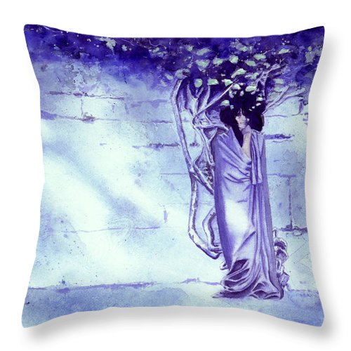Woman Throw Pillow featuring the painting Blue Mood by Ken Meyer