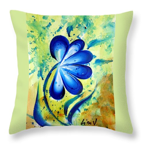 Flower Throw Pillow featuring the painting Blue Mood by Luiza Vizoli