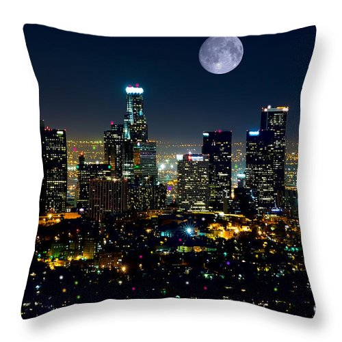 L.a. City Throw Pillow featuring the mixed media Blue Moon Over L.a. by Garland Johnson