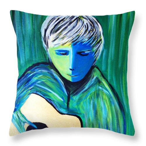 Guitar Portrait Abstract Throw Pillow featuring the painting Blue Moon by Shirley Kent