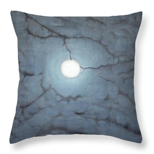 Moon Throw Pillow featuring the painting Blue Moon by Usha Shantharam