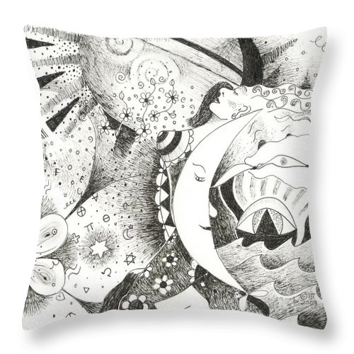 Surreal Throw Pillow featuring the drawing Blue Moons And Tidbits by Helena Tiainen