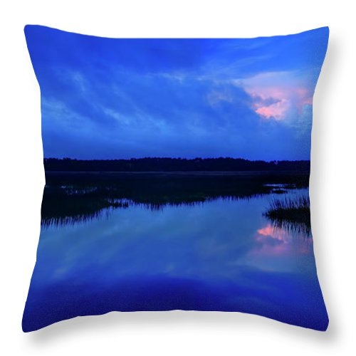 Beaufort County Throw Pillow featuring the photograph Blue Morning by Phill Doherty