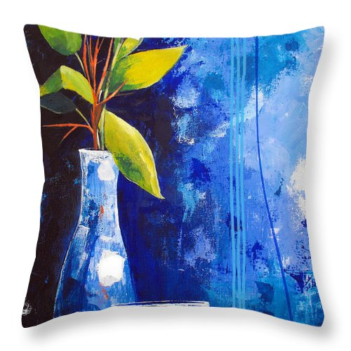 Abstract Throw Pillow featuring the painting Blue Morning by Ruth Palmer