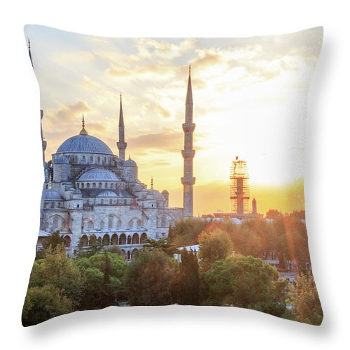 Asia Throw Pillow featuring the photograph Blue Mosque Sunset by Emily M Wilson