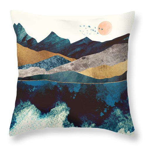 Blue Throw Pillow featuring the digital art Blue Mountain Reflection by Spacefrog Designs