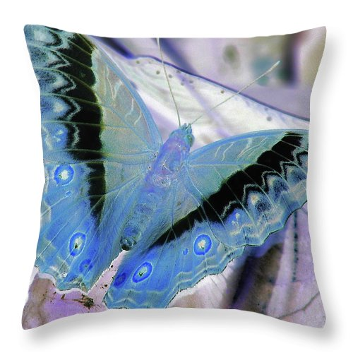 Butterfly Throw Pillow featuring the photograph Blue Negative by JAMART Photography