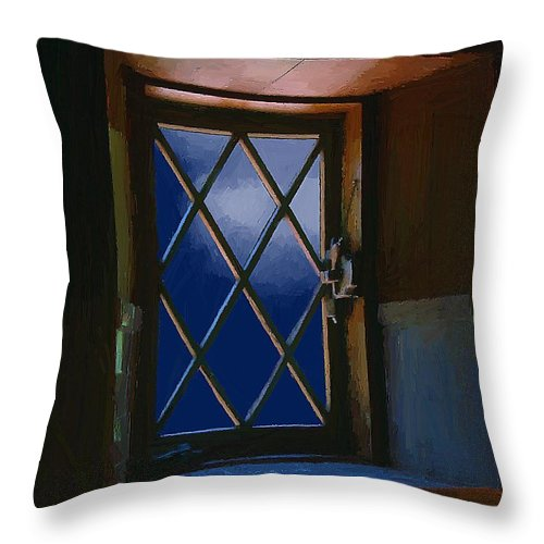 Window Throw Pillow featuring the painting Blue Night Through Casement by RC DeWinter