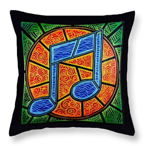 Music Throw Pillow featuring the painting Blue Note On Red by Jim Harris