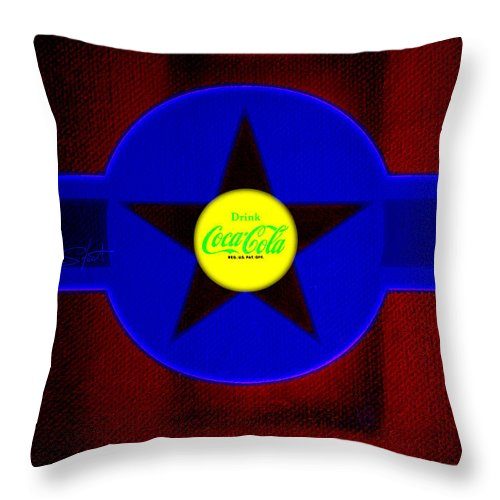 Label Throw Pillow featuring the painting Blue On Red by Charles Stuart