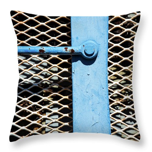 Major Rust Throw Pillow featuring the photograph Blue On White by Karol Livote