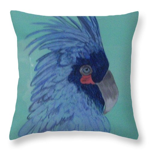 Blue Throw Pillow featuring the painting Blue Parrot by Nancy Nuce