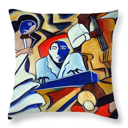 Dancers Throw Pillow featuring the painting Blue Piano Red Bongos by Valerie Vescovi