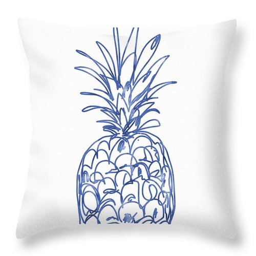 Pineapple Throw Pillow featuring the painting Blue Pineapple- Art by Linda Woods by Linda Woods