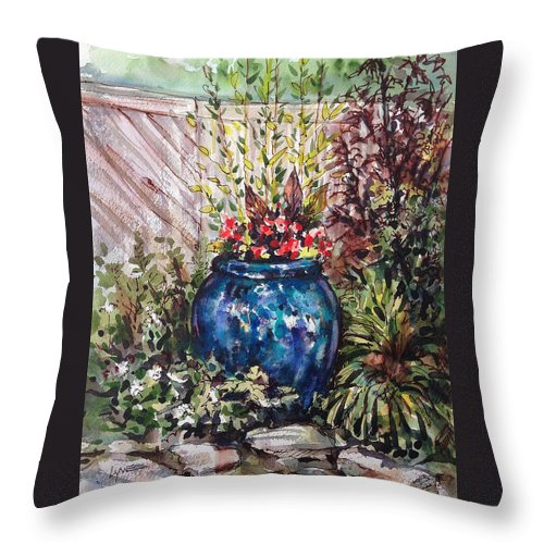 Landscape Throw Pillow featuring the painting Blue Planter by Lynne Haines