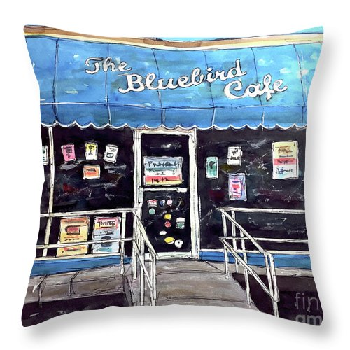 Bluebird Throw Pillow featuring the painting Blue Plate Special by Tim Ross