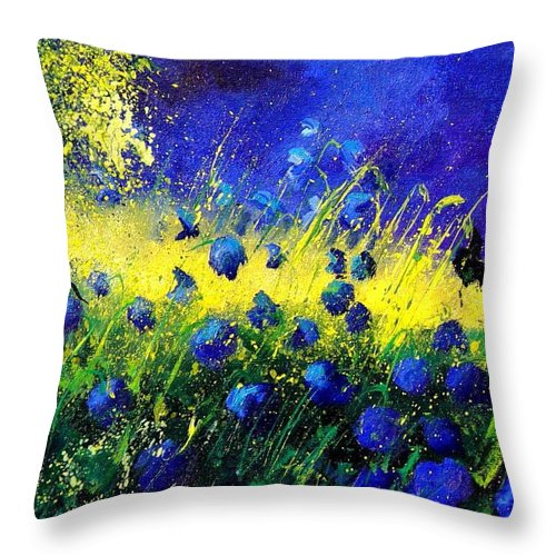 Flowers Throw Pillow featuring the painting Blue Poppies by Pol Ledent