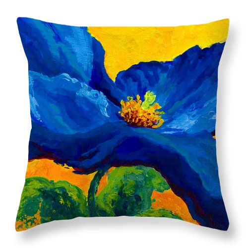 Poppies Throw Pillow featuring the painting Blue Poppy by Marion Rose