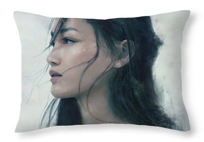 Warrioress Throw Pillow featuring the painting Blue Portrait by Eve Ventrue