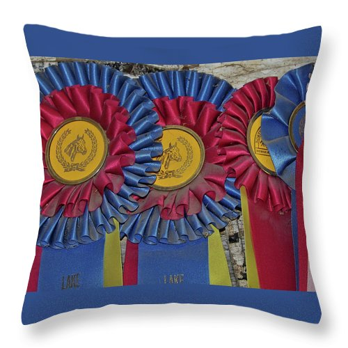 Blue Throw Pillow featuring the photograph Blue Ribbons by JAMART Photography