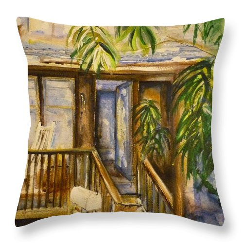 Blue Ridge Mountains Throw Pillow featuring the painting Blue Ridge Cabins Blue Ridge Mountains by Lizzy Forrester