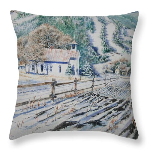 Landscape Throw Pillow featuring the painting Blue Ridge Church by Tom Harris