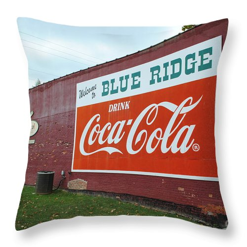 Blue Throw Pillow featuring the photograph Blue Ridge Coke by Jost Houk