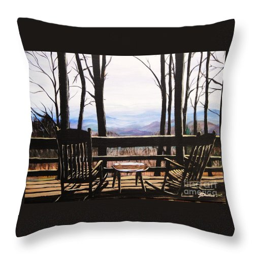 North Carolina Throw Pillow featuring the painting Blue Ridge Mountain Porch View by Patricia L Davidson