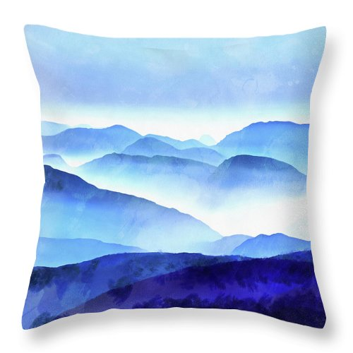 Painting Throw Pillow featuring the photograph Blue Ridge Mountains by Edward Fielding