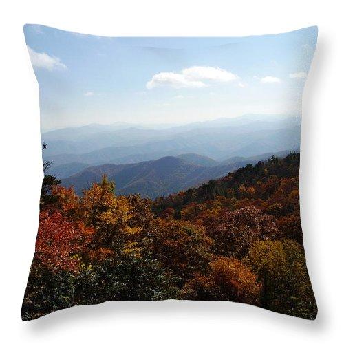 Blue Ridge Mountains Throw Pillow featuring the photograph Blue Ridge Mountains by Flavia Westerwelle