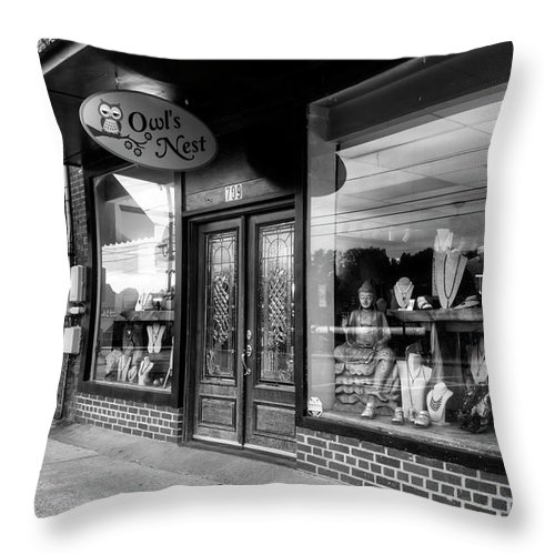 Owl's Nest Throw Pillow featuring the photograph Blue Ridge Owl's Nest In Black And White by Greg and Chrystal Mimbs