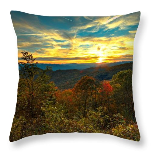 Carol R Montoya Throw Pillow featuring the photograph Blue Ridge Sunsets by Carol Montoya