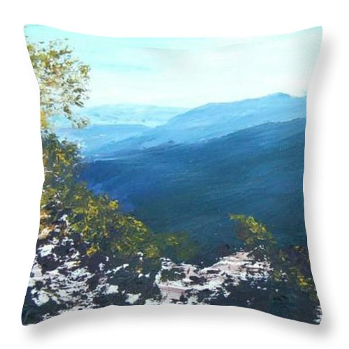 Landscape Throw Pillow featuring the painting Blue Ridge by Tami Booher