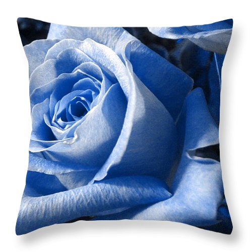 Blue Throw Pillow featuring the photograph Blue Rose by Shelley Jones