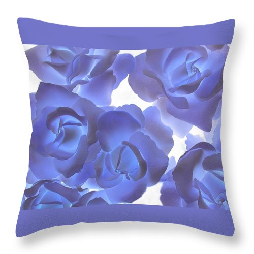 Blue Throw Pillow featuring the photograph Blue Roses by Tom Reynen
