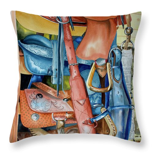 Blue Saddle Painting Throw Pillow featuring the painting Blue Saddle by Kandyce Waltensperger