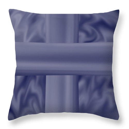 Blue Throw Pillow featuring the painting Blue Satin Cross by Anne Norskog