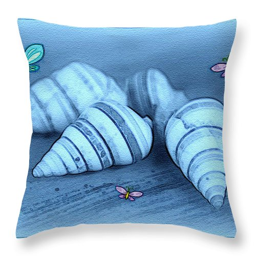 Shell Art Throw Pillow featuring the photograph Blue Seashells by Linda Sannuti