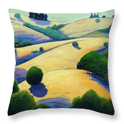 California Landscape Throw Pillow featuring the painting Blue Shadows Of Sunset by Gary Coleman