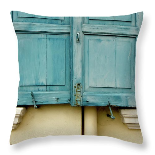 Rudesheim Throw Pillow featuring the photograph Blue Shutters Rudesheim by KG Thienemann
