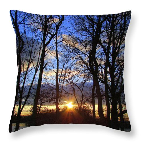 Sunset Throw Pillow featuring the photograph Blue Skies And Golden Sun by J R Seymour