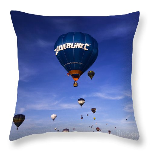 Balloon Fiesta Throw Pillow featuring the photograph Blue Skies by Angel Ciesniarska