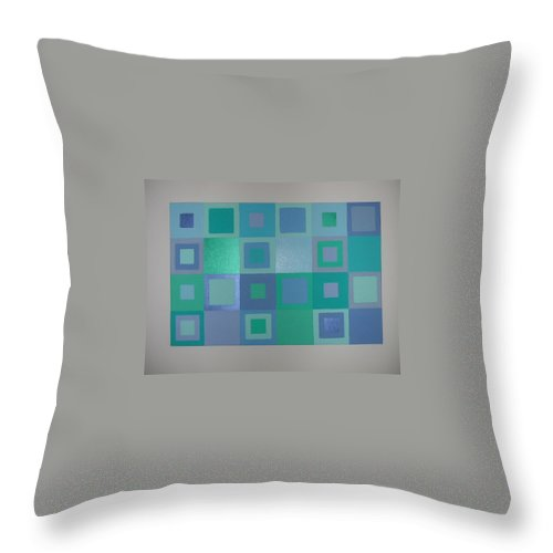 Pastel Blue Metallic Squares Painting Throw Pillow featuring the painting Blue Skies by Gay Dallek